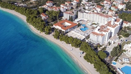 Aerial view of Tucepi beach and Hotel Alga
